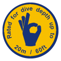 the ewa-marine D-B is rated to a dive depth of 20m / 60ft